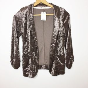 NWT Crushed velvet blazer open Blazer tan brown